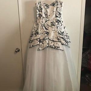 Strapless Black & White Tule Gown